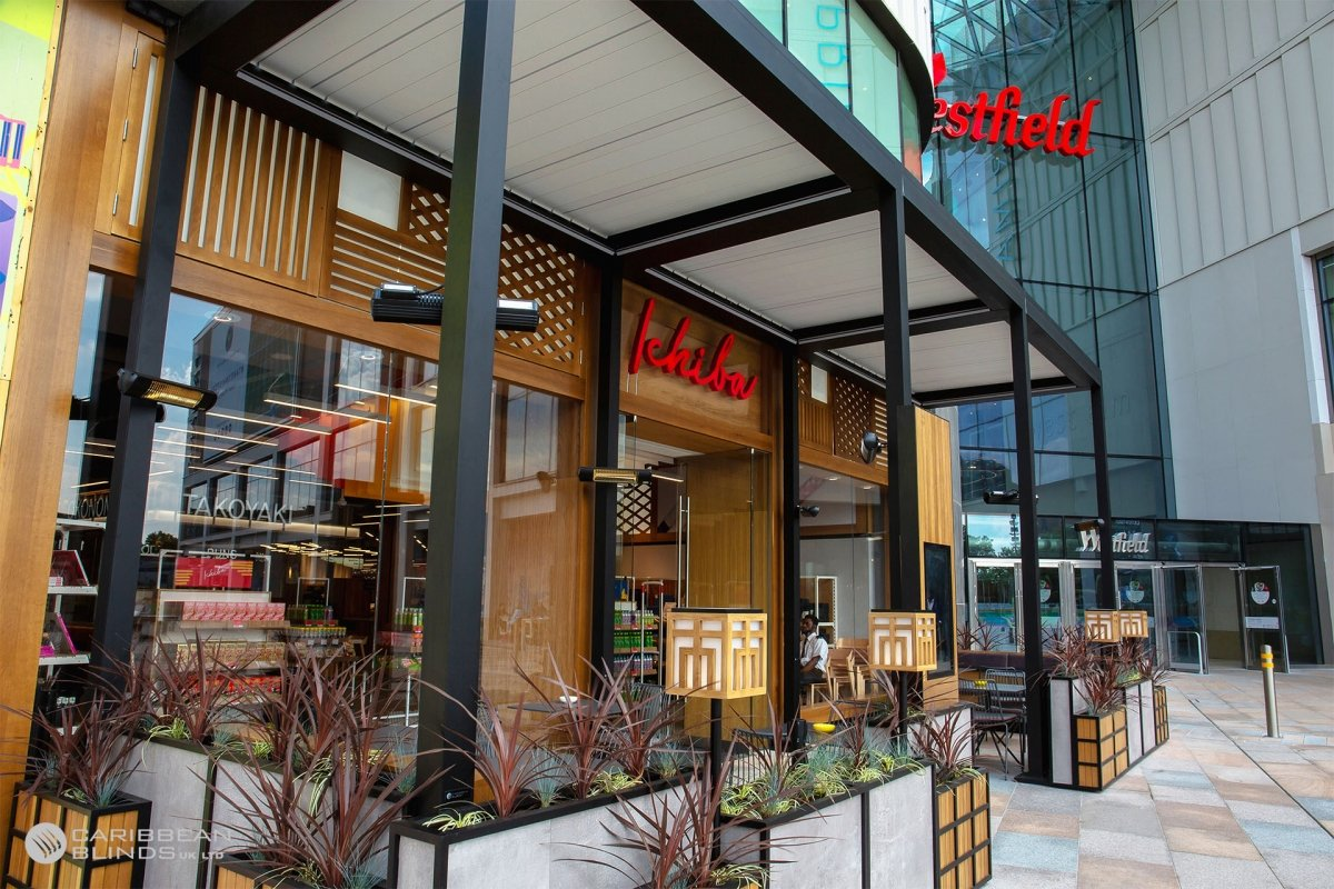 Architectural Outdoor Canopy   Westfield Shopping Centre   Caribbean Blinds
