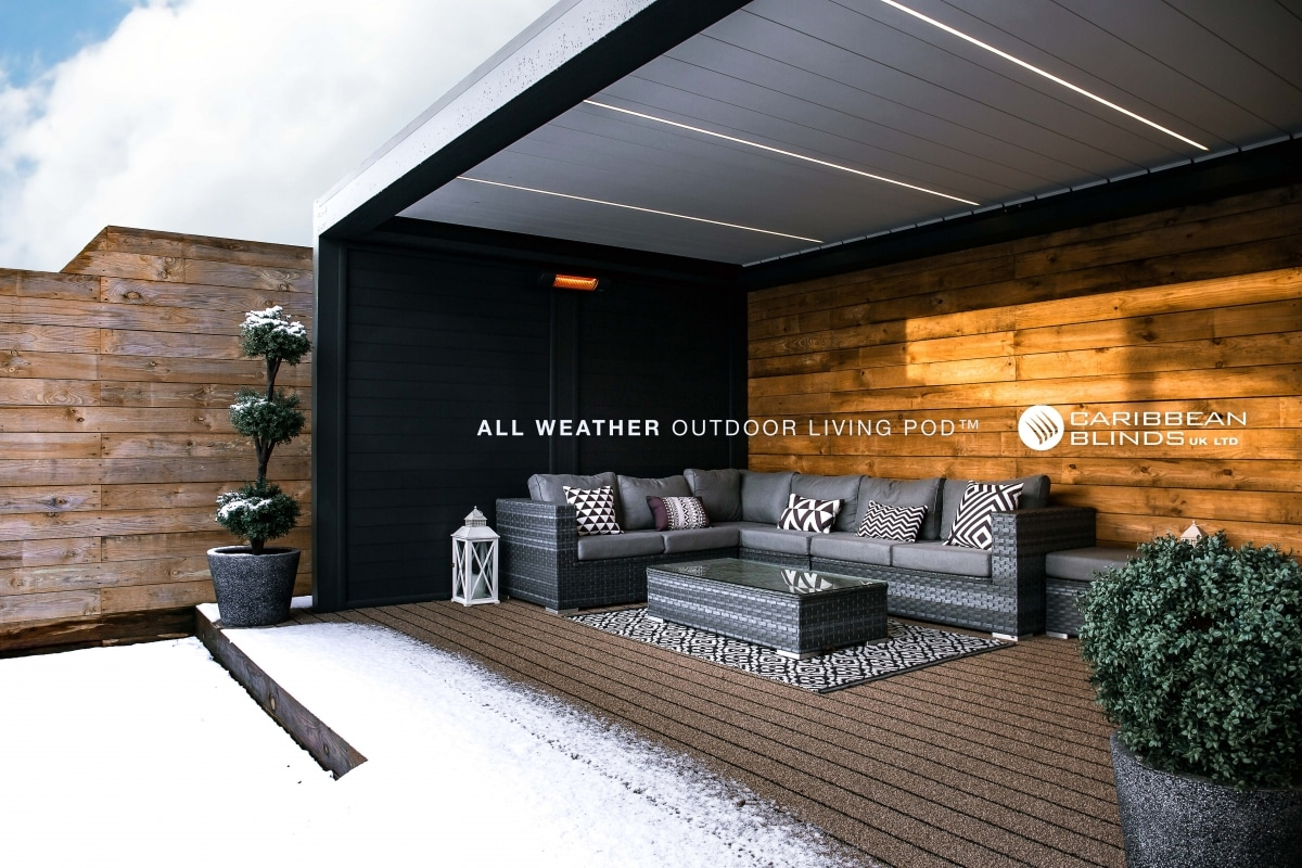 Outdoor Living Pod | Caribbean Blinds | Snow | Warm | Shelter | Winter | Frost