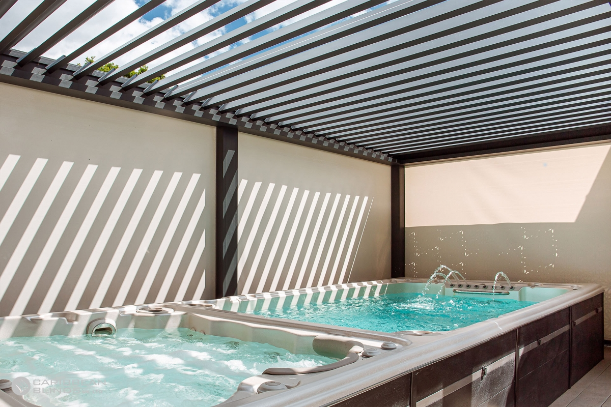 Louvered Roofs   Outdoor Living Pod   Caribbean Blinds   Hot Tub   Swim Spa