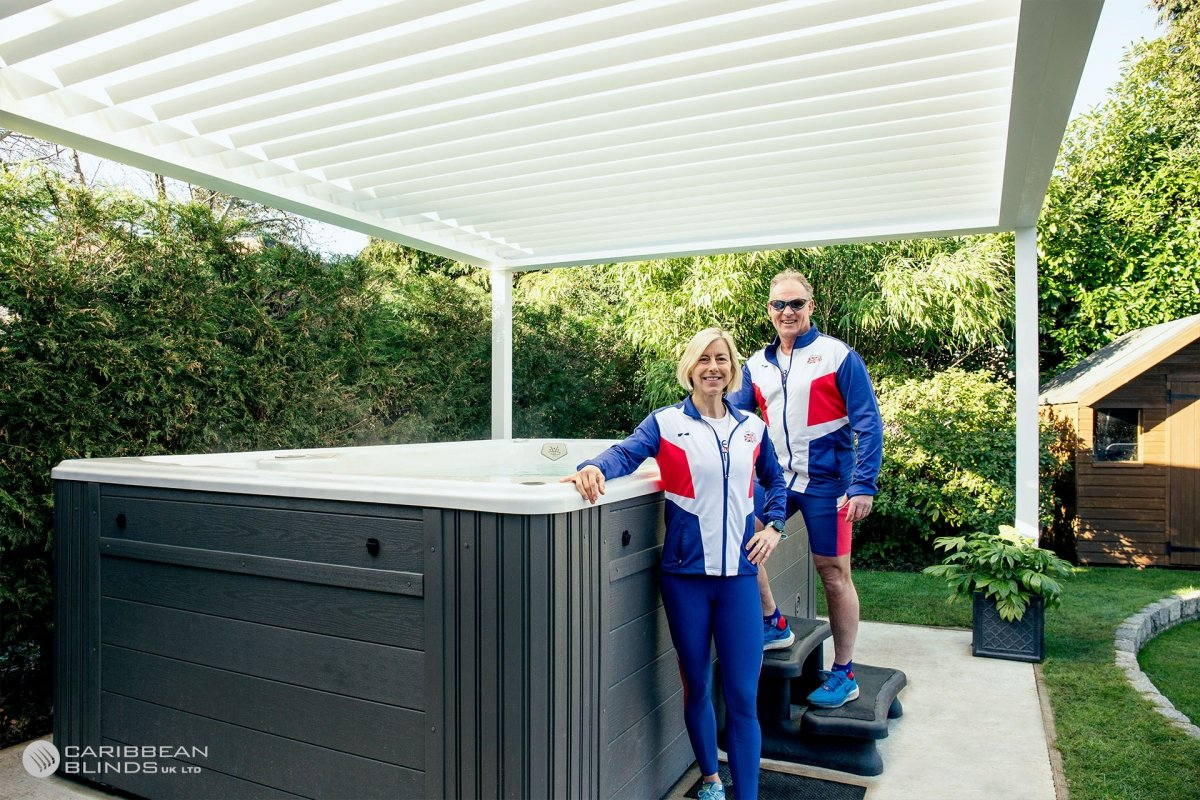 Louvered Roofs | Outdoor Living Pod | Caribbean Blinds | Swim Spa | GB Athletes | Hot Tub | Tony Mitchell | Virginia Mitchell