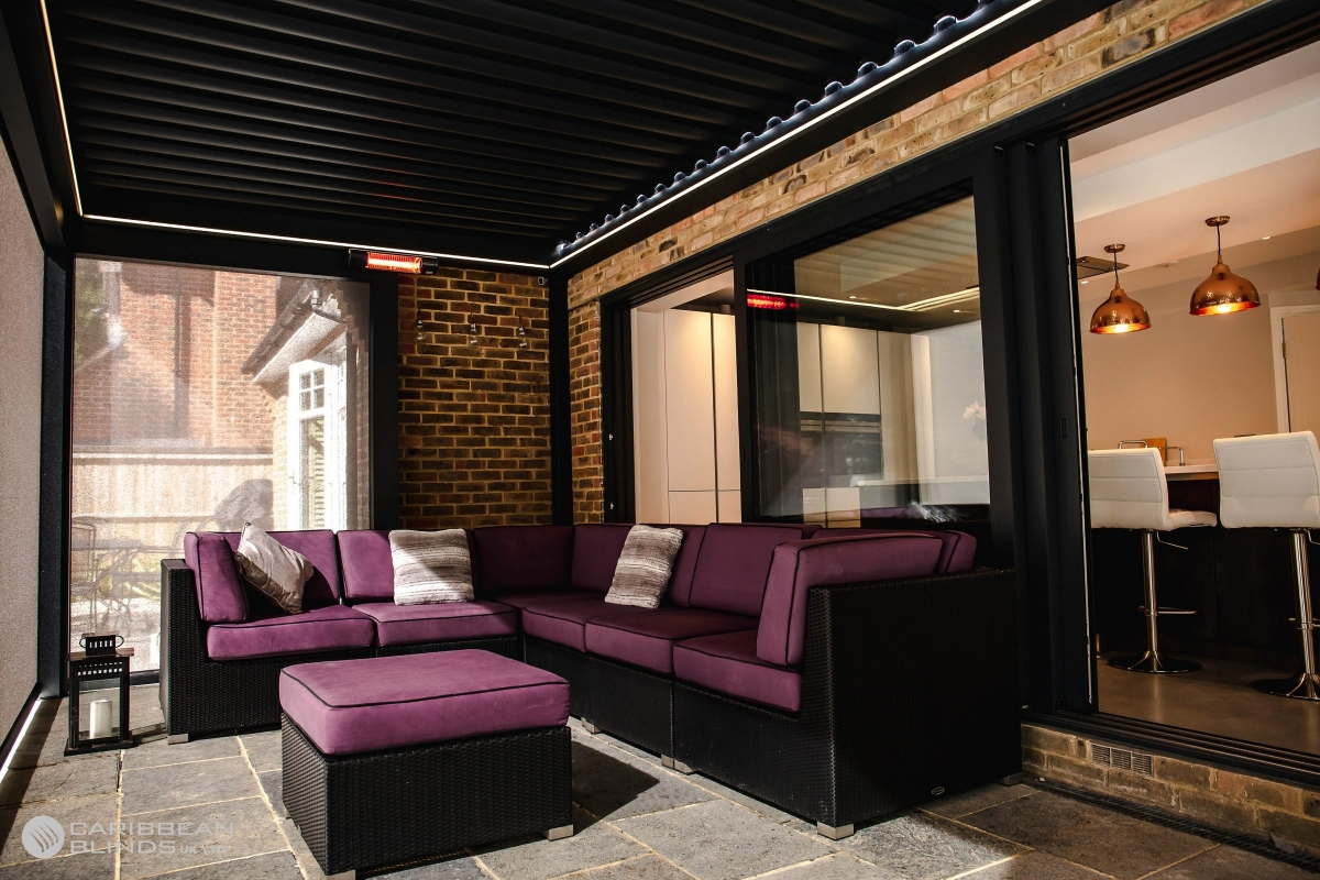 Perola | Canopy | Outdoor Living Pod | Louvered Pergola | Louvered Canopy | Louvered Roof | Sliding Doors | Garden Furniture